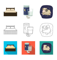 Design of dreams and night icon set of vector