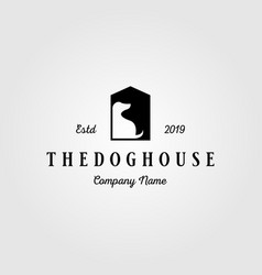 dog house pet home logo vintage design vector image