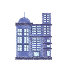 Drawing building residential town vector