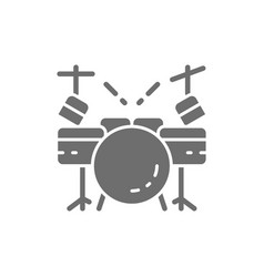 drum kit musical instrument grey icon isolated vector image