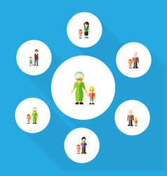 Flat icon people set of grandma grandpa daugther vector