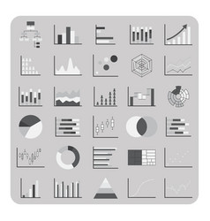 Flat icons basic graph chart and diagram set vector