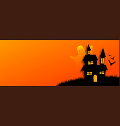Flat style halloweeb orange banner with scary vector
