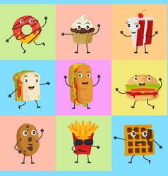 food mascot cute icon set character vector image