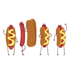 funny hot dogs collection humanized fast food vector image