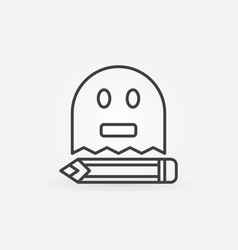 Ghost writing outline icon vector