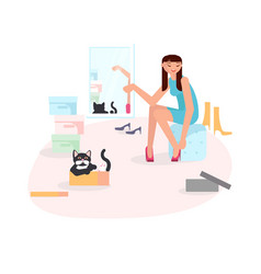 girl putting on shoes vector image