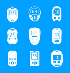 Glucose meter sugar test icons set simple style vector