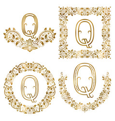 golden q letter ornamental monograms set heraldic vector image