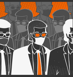 group people in medical masks vector image