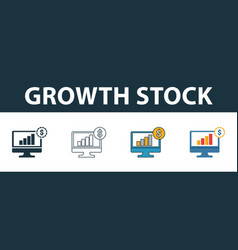 growth stock icon set four elements in diferent vector image