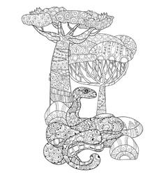 Hand drawn doodle outline anaconda vector image