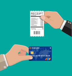 hand holding receipt and credit card vector image