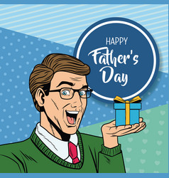 happy fathers day pop art card vector image