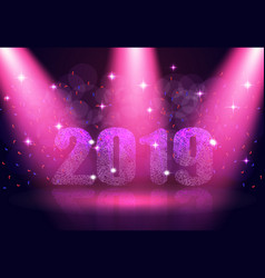 happy new year 2019 text background in the show vector image