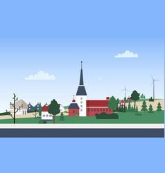Horizontal landscape with town neighborhood vector