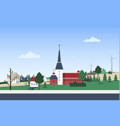 Horizontal landscape with town neighborhood with vector