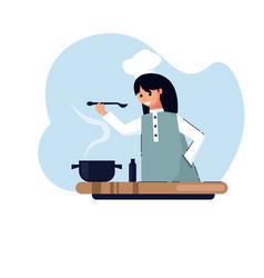 housewife girl cooking vector image