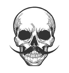 Human skull sketch engraving vector