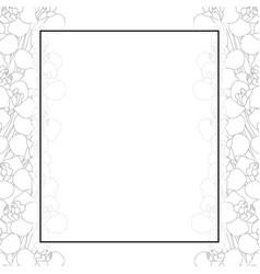 iris flower outline banner card border vector image