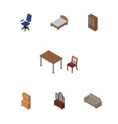 Isometric design set of cupboard cabinet vector
