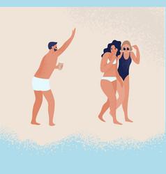 Joyful guy in swimwear greeting female in bikini vector