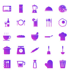 kitchen gradient icons on white background vector image