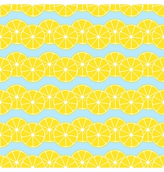 Lemon slices on blue background seamless pattern vector image