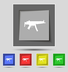 Machine gun icon sign on original five colored vector