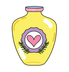 Mason jar with heart sticker and branches style vector