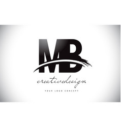Mb m b letter logo design with swoosh and black vector