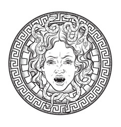 medusa gorgon head on a shield hand drawn line art vector image