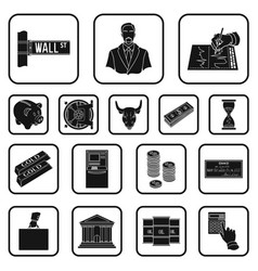 Money and finance black icons in set collection vector