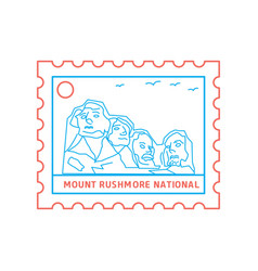 Mount rushmore national postage stamp blue and vector