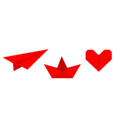 origami paper plane boat ship heart icon set vector image