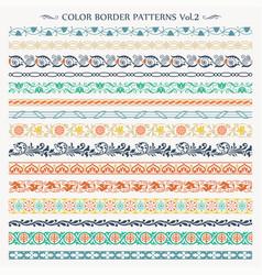 ornamental border frame color patterns set 2 vector image