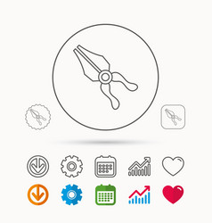 Pliers icon repairing fix tool sign vector