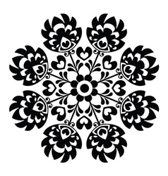 Polish round black folk art pattern - Wzory Lowick vector