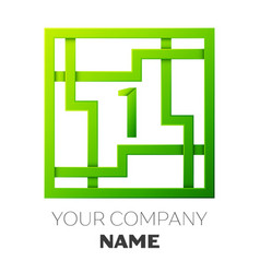 Realistic number one logo in colorful square maze vector