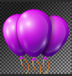 Realistic violet balloons with ribbons isolated vector
