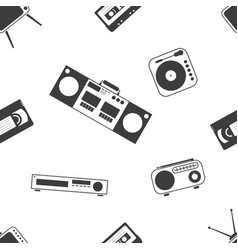 Retro home electronics set seamless pattern black vector
