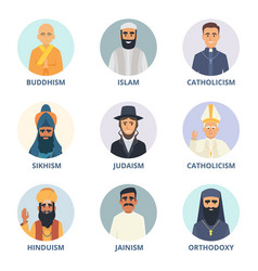 Round avatars set with pictures of religion vector