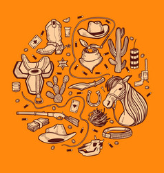 Round composition with wild west and cowboy vector