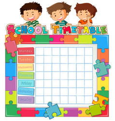 School timetable template with kids vector