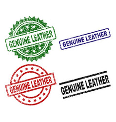 Scratched textured genuine leather seal stamps vector