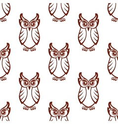 seamless pattern a wise old owl vector image