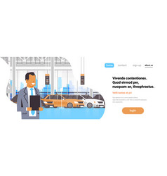 seller man cars dealership center showroom vector image
