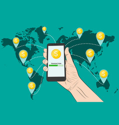 sending money with a smartphone vector image