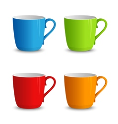 Set of colorful cups on a white background vector image