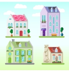 Set of detailed colorful cottage houses Flat vector image